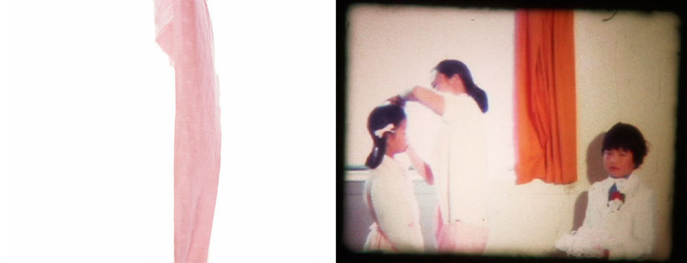 pink wedding silk fabric / 1975 super 8mm wedding still